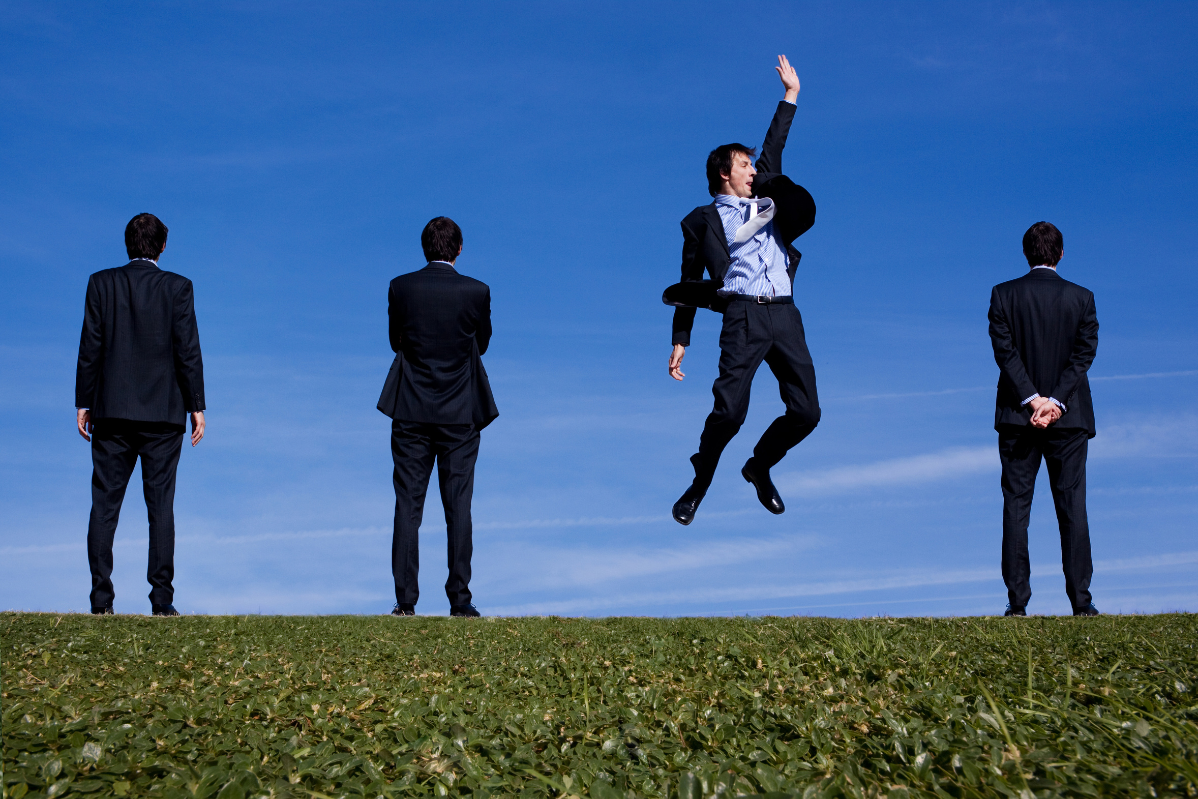 business man jumping. Low stress and happy